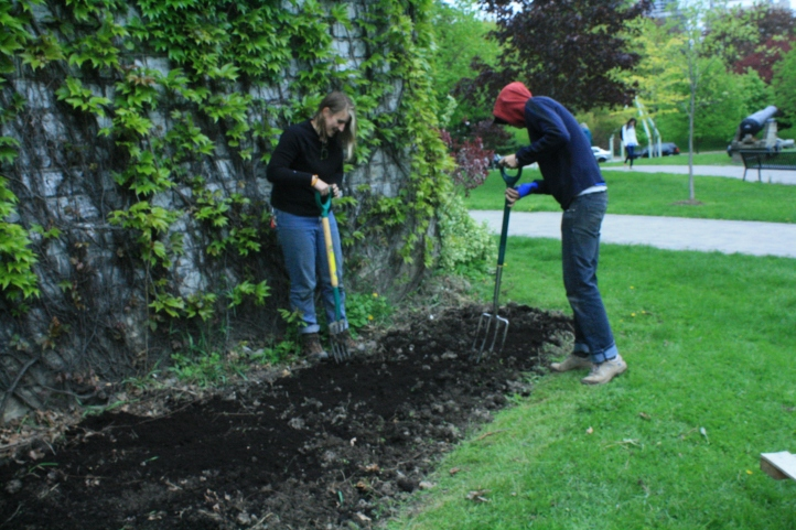 Anna and Bonnie prep the garden by turning the soil and taking out weeds or other unwanted plants.